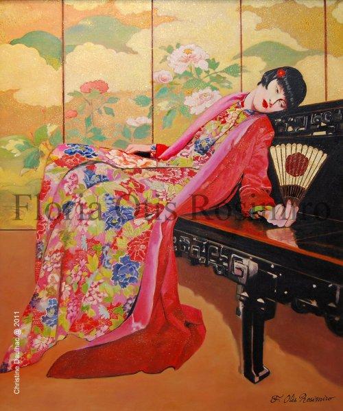 Huile sur toile - brillants et peinture or - 73 cm x 50 cm