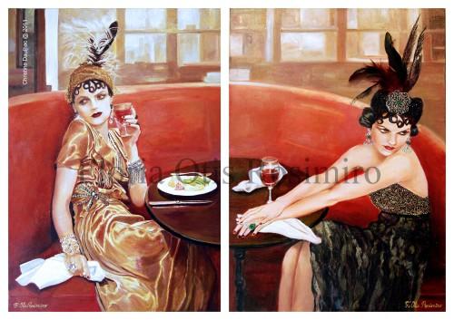 Dyptique - Huile sur toile - brillants, incrustations, peinture argent - 65 cm x 50 cm (x2)