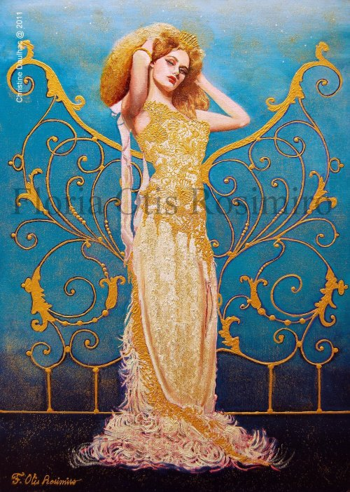 Huile sur toile - brillants et peinture or - 50 cm x 73 cm