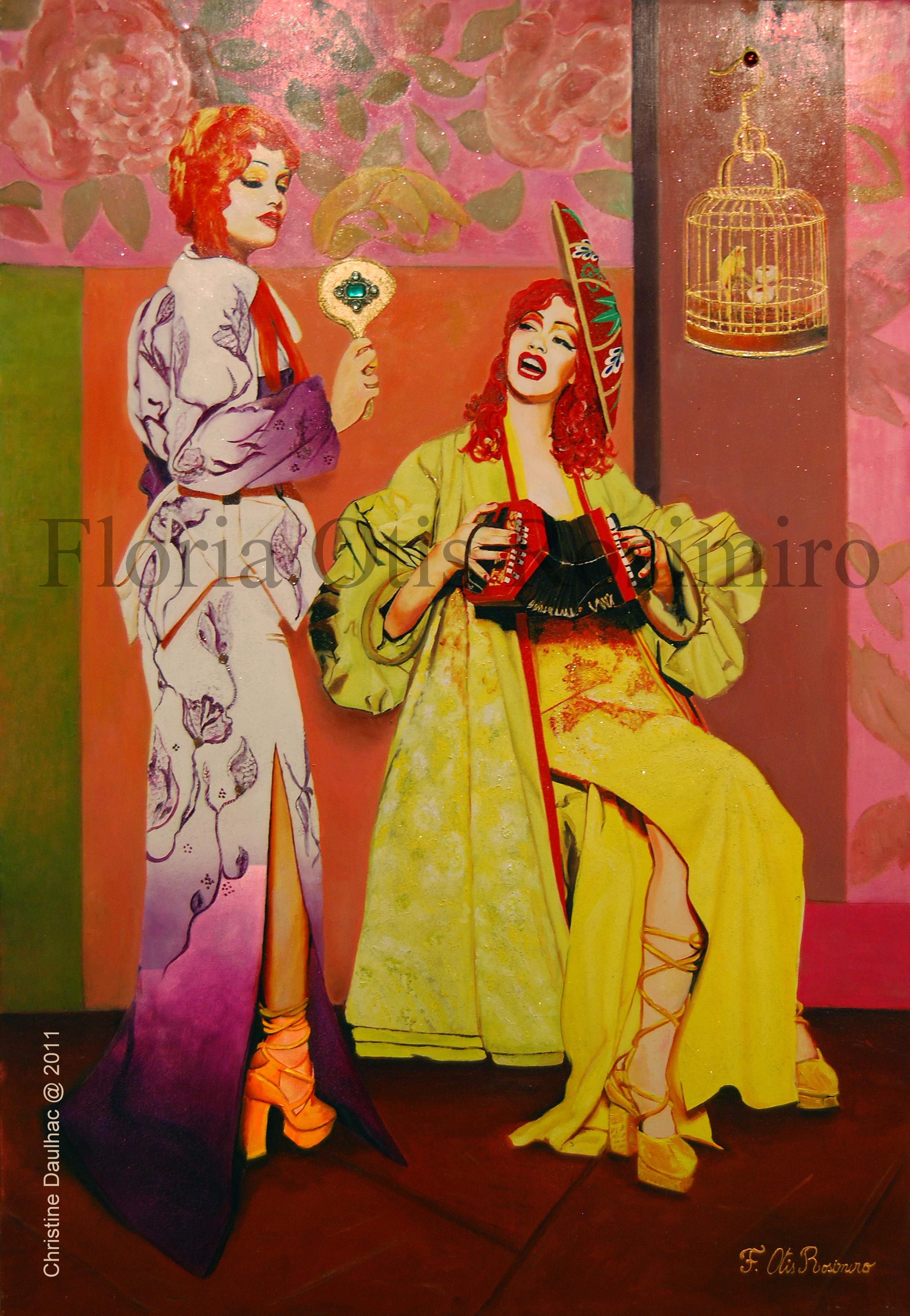 Huile sur toile - pierreries, brillants et peinture or - 92 cm x 65 cm