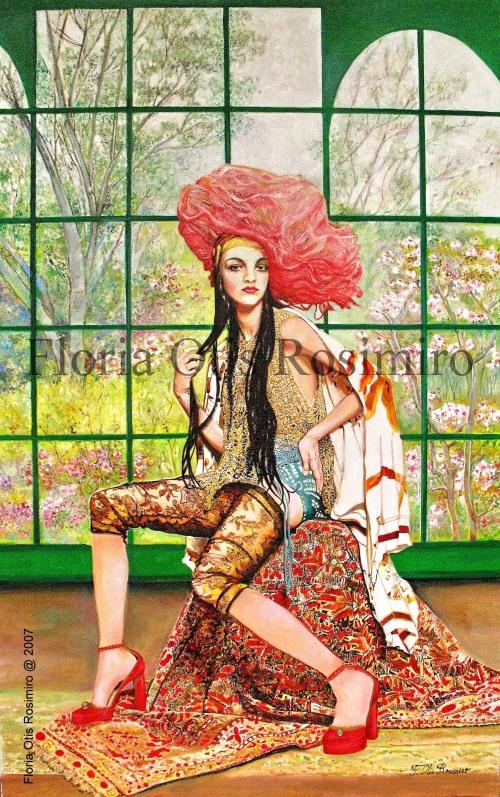 Huile sur toile - pierreries, brillants et peinture or - 116 cm x 73 cm