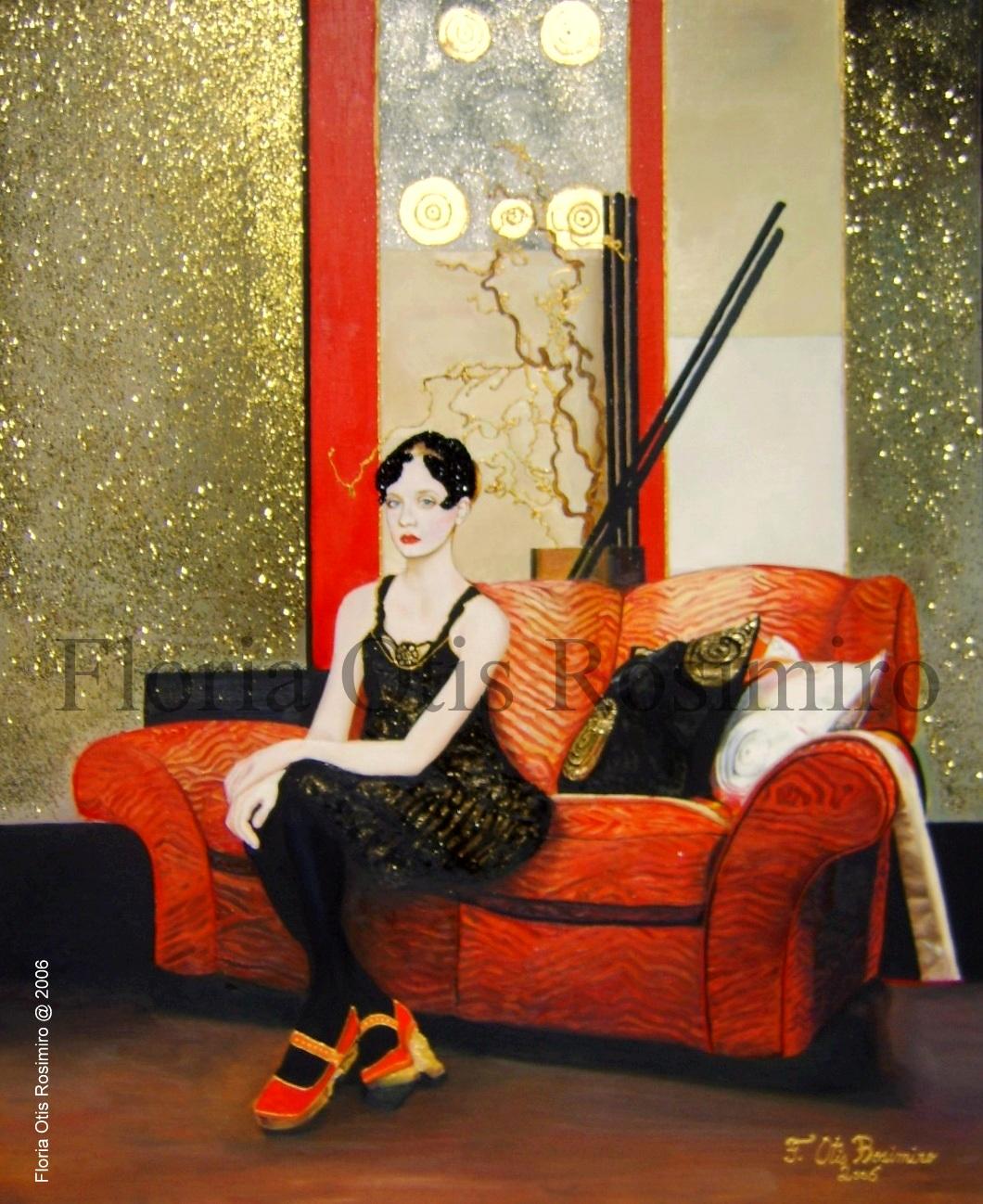 Huile sur toile - brillants, peinture dorée et feuille d'or - 73 cm x 60 cm