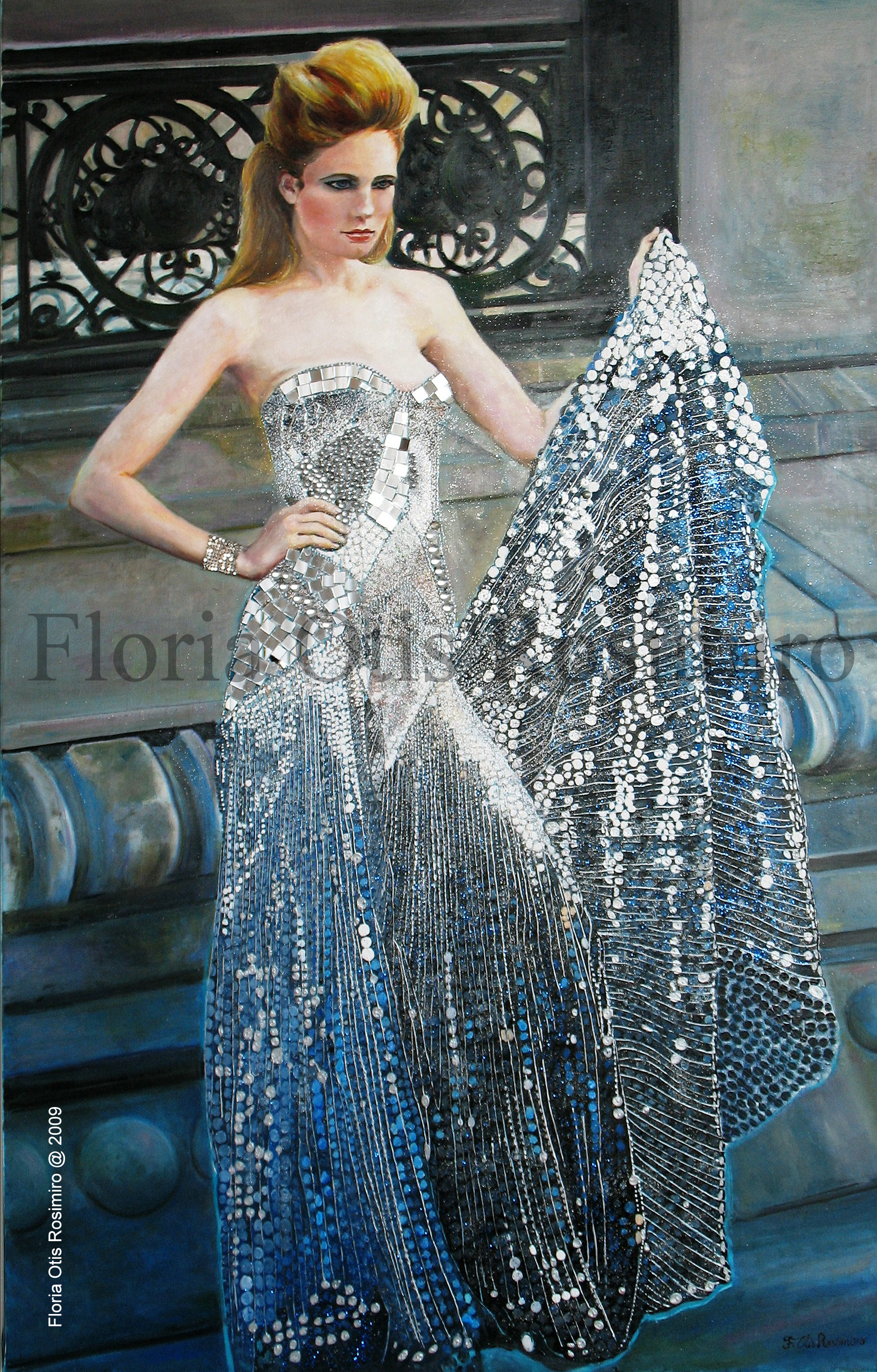 Huile sur toile - brillants, miroirs, perles, cabochons et peinture argent - 130 cm x 81 cm