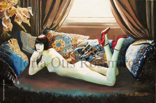 Huile sur toile - brillants et peinture or - 81 cm x 54 cm